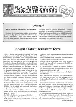 Csicsói Hírmondó 4.szám, 2014.augusztus 27. (2MB pdf