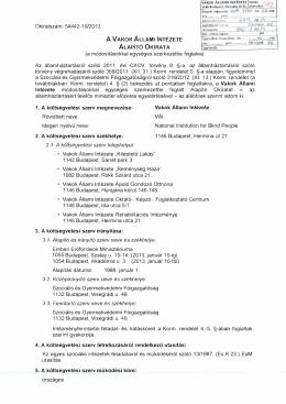 A VÁI alapító okirata - Vakok Állami Intézete