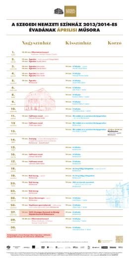 2013-2014 évad - Április műsorfüzet