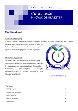 2014. novemberi hírlevél - Kék Gazdaság Innovációs Klaszter