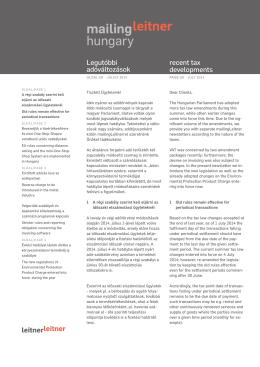 MailingLeitner Hungary Adótörvények újabb