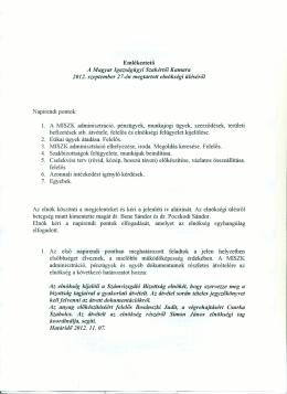 Emlékeztető A Magyar Igazságügyi Szakértői Kamara 2012