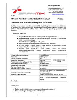 MA 1001 Graytherm EPS hőszigetelő rendszer és