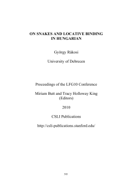Proceedings of LFG10 - Stanford University