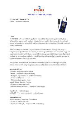 Pfinder kettős UV és fehér fény mérőkészülék