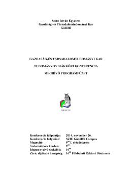 SZIE GTK TDK 2014 Meghívó programfüzet