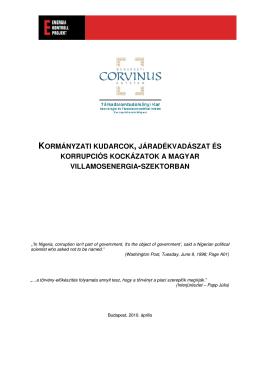 Járadékvadászat és korrupció tanulmány