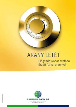 ÚJ: PARTNER BANK AG – Arany letét brosúra