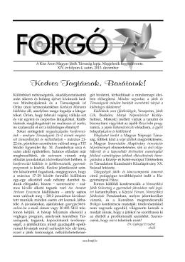 2013. évi 4. szám - Kiss Áron Magyar Játék Társaság