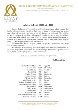 A Lévay adventi hírnökei