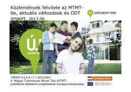 MTMT feltöltési + Doktori.hu tanfolyam, 2013. szeptember (ELTE)