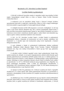 Beszámoló a XV - Magyar Levéltári Portál