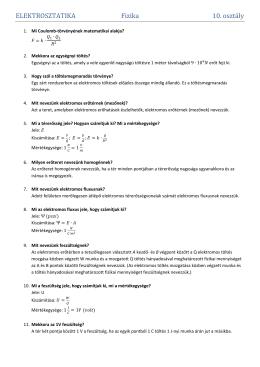 ELEKTROSZTATIKA Fizika 10. osztály