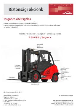 Biztonsági akciónk - Linde Magyarország Anyagmozgatási Kft.