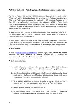 Játékszabály és adatvédelmi nyilatkozat