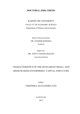 DOCTORAL (PhD) THESIS KAPOSVÁR UNIVERSITY