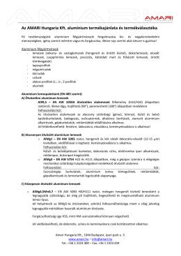 Ötvözetek - Amari Hungaria Kft.