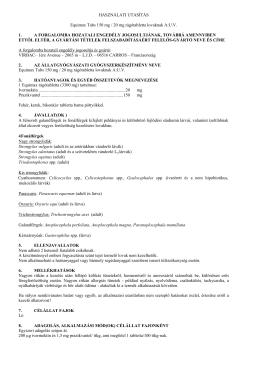 HASZNÁLATI UTASÍTÁS Equimax Tabs 150 mg / 20 mg