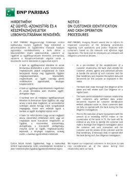App 3 Tájékoztató ügyfél azonosításról - Information