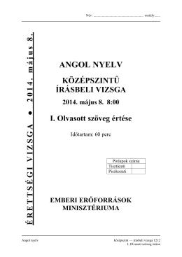 ANGOL NYELV - Érettségi 2014
