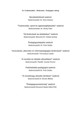 """Neveléstörténeti szekció """"Testnevelés, sport és egészségfejlesztés"""