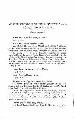 Magyar szépirodalom idegen nyelven. (Ötödik közlemény)
