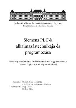 Siemens PLC-k alkalmazástechnikája és programozása