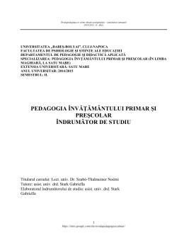 Óvodai és elemi oktatás pedagógiája, távoktatás, 2015