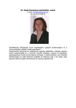 Dr. Hada Zsuzsanna pszichiáter, coach