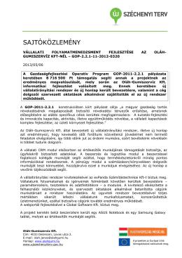SAJTÓKÖZLEMÉNY - Oláh Gumiszerviz Kft.