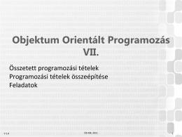 Objektum Orientált Programozás I.
