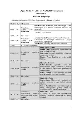 Absztraktkötet letöltése (pdf) - AgriaMedia - 2014