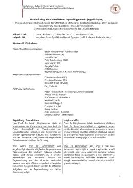 Közalapítvány a Budapesti Német Nyelvű Egyetemért jegyzőkönyve