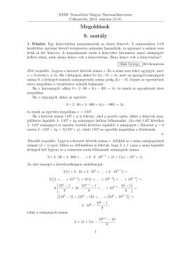 Megoldások 9. osztály