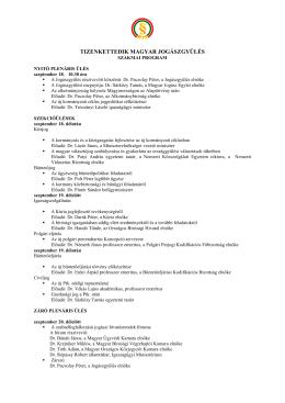 SZAKMAI PROGRAM - Magyar Jogász Egylet