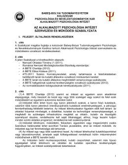 Az Alkalmazott Pszichológia Intézet szervezési és működési szabálya