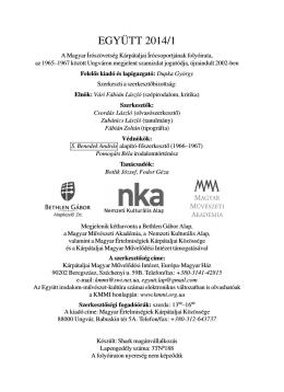 belső borító - Kárpátaljai Magyar Művelődési Intézet