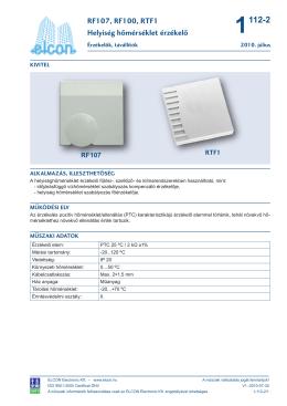 RF107, RF100, RTF1 Helyiség hőmérséklet érzékelő
