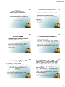 Versenyképesség - Regionális Gazdaságtani és Vidékfejlesztési