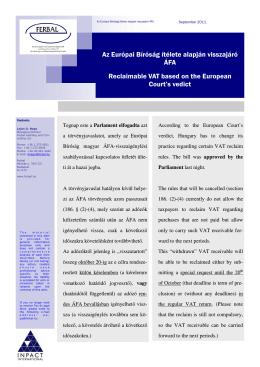 Az Európai Bíróság ítélete alapján visszajáró ÁFA