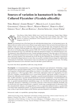 Sources of variation in haematocrit in the Collared Flycatcher