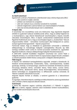 A 2013. évi Educatio kiállításra készített kémia BSc tájékoztató lap.