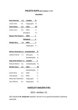 2013-2014. sport erdmények összesítése