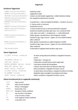 Gyakran használt SQL függvények