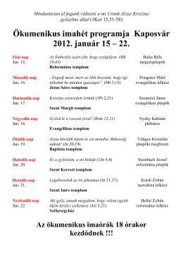 Ökumenikus imaórák 2012