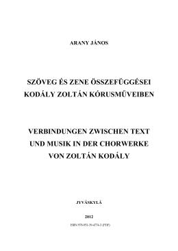 szöveg és zene összefüggései kodály zoltán kórusműveiben