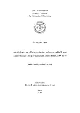magyar - PTE Oktatás és Társadalom Neveléstudományi Doktori