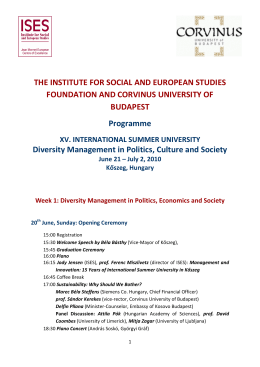 THE INSTITUTE FOR SOCIAL AND EUROPEAN STUDIES