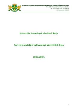 Nevelési-oktatási intézményi közzétételi lista 2012/2013.