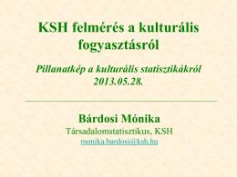 KSH felmérés a kulturális fogyasztásról Pillanatkép a kulturális
